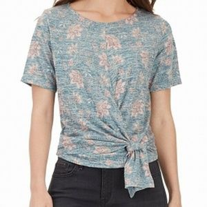 William Rast Blue Floral Front Tie Knit Top XS $54
